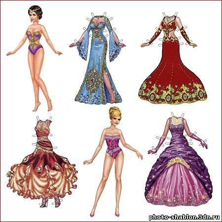 Бумажные куклы в платьях для принцесс